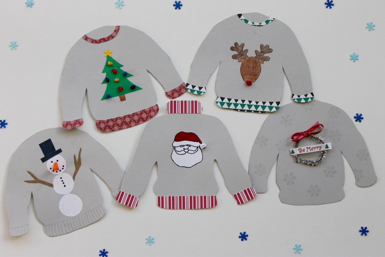 4333ee9697606b Ugly Christmas Sweater Garland   Gift Tags from weregoingtomakeit.com