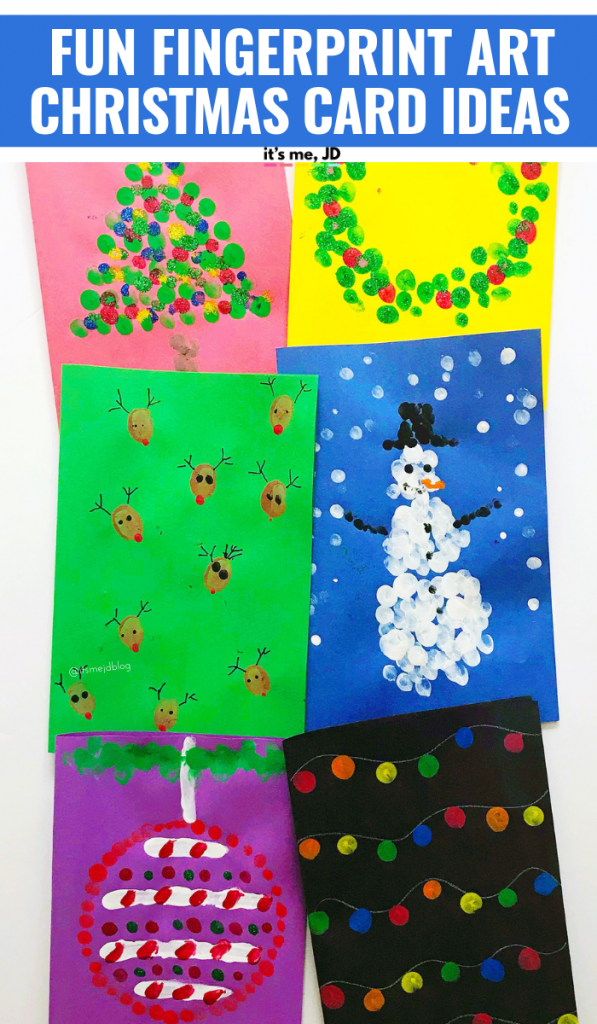 Fun Fingerprint Christmas Card Ideas That Kids Can Make #fingerpaint #fingerprint #thumbprint #fingerprintart