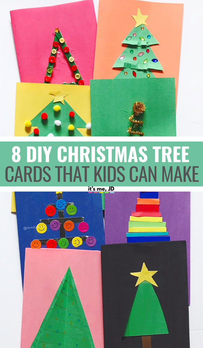 8 DIY Christmas Tree Cards That Kids Can Make #christmas #christmascard #holidaycard #handmadecard #kidcrafts