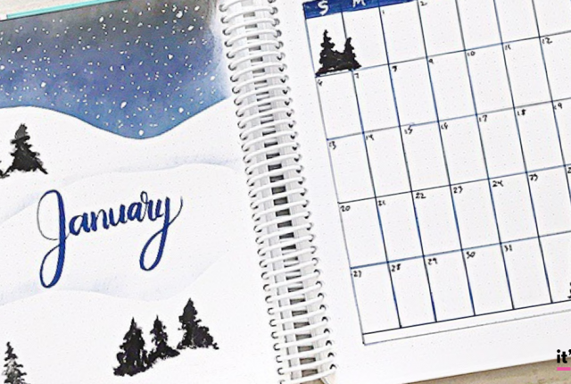 January Bullet Journal Layout , Plan With Me, Planner Spread, Winter, Snow #bulletjournal #januarybulletjournal #bujo #planner