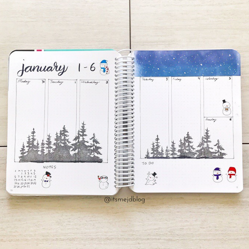 January Bullet Journal Cover Winter Snow Mountain