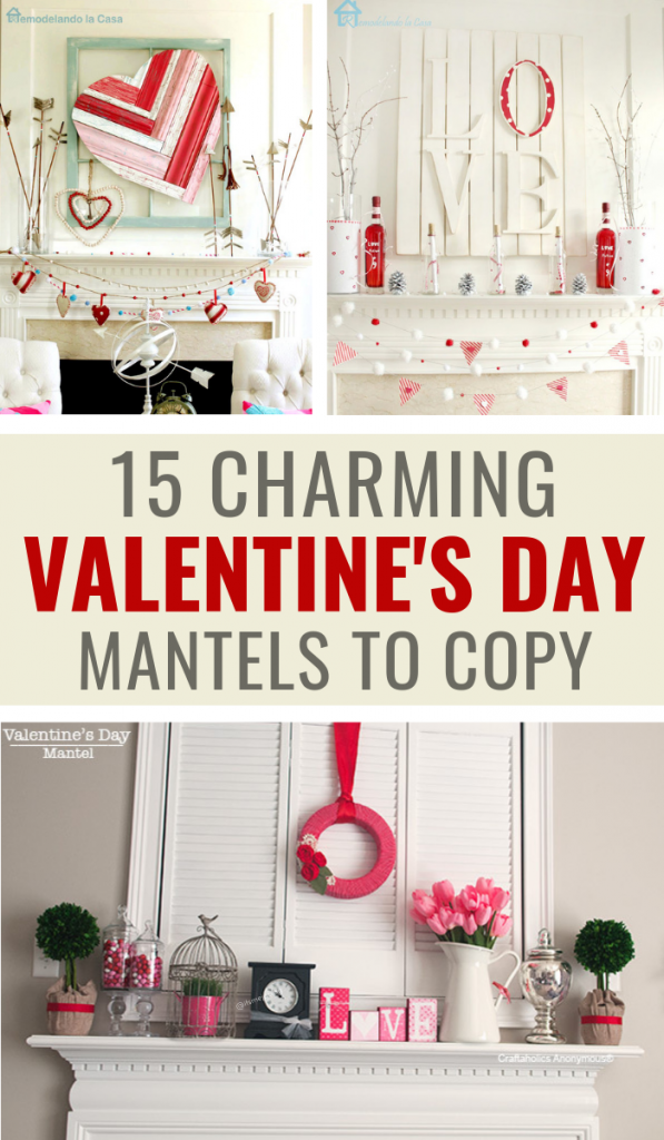 15 Charming Valentine's Day Mantel Decor Ideas To Fall In Love With #valentinesday #valentinesdaydecor #valentinesdaymantel #valentinesdaycrafts #homedecor