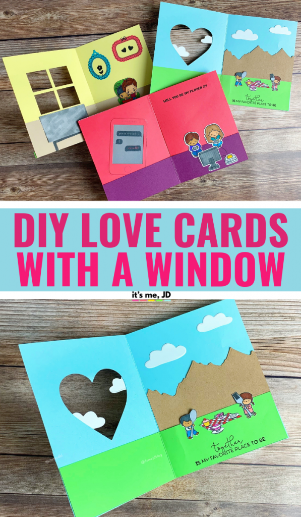 FB - DIY Love Cards For Your Boyfriend or Husband, Window Greeting Card, #lovecard #handmadecard #handmadecards #papercraft #papercrafts #anniversarycard #valentinesdaycards