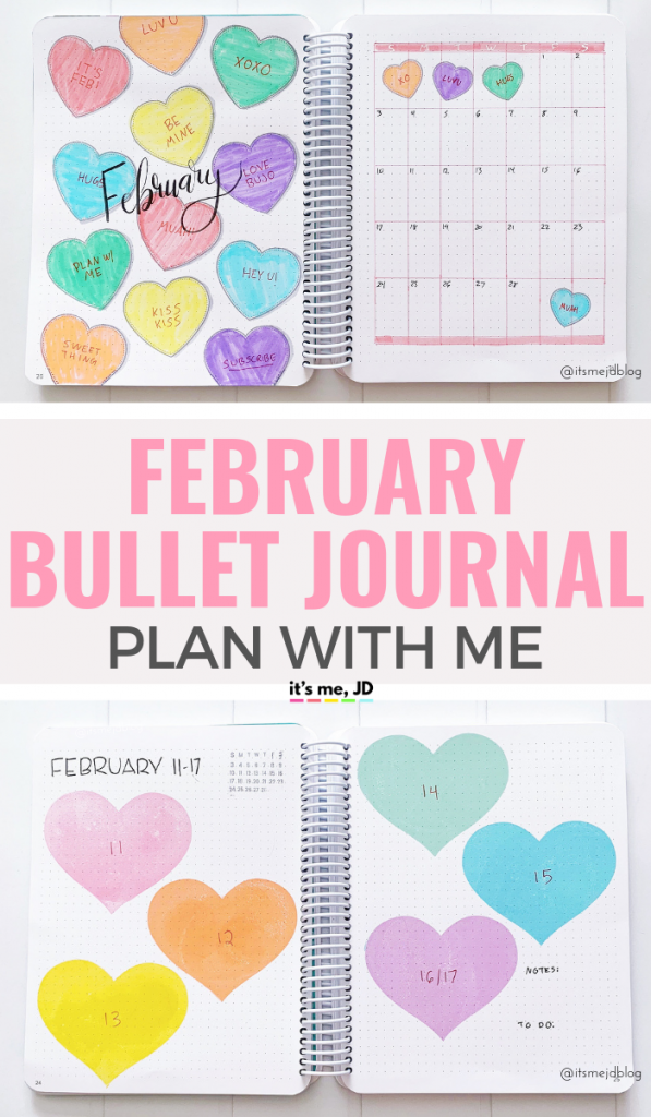 February 2019 Bullet Journal Layout, Plan With Me, Planner Spread #bulletjournal #februarybulletjournal #februarymonthlyspread #bujo