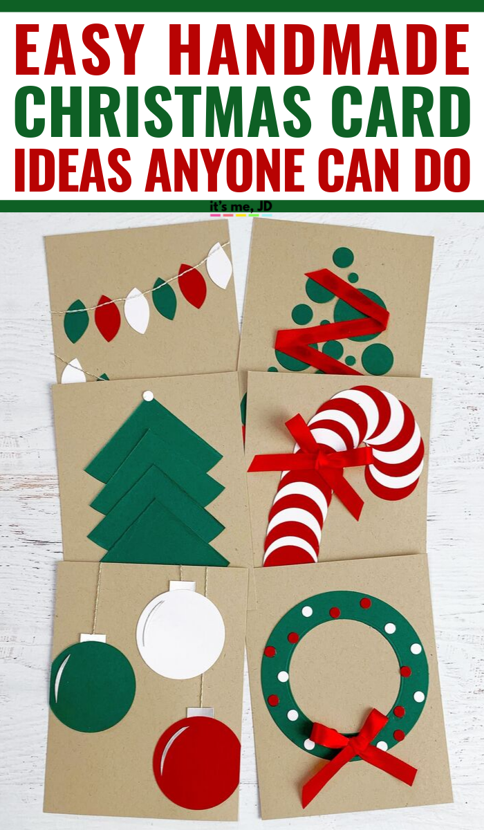 Easy Handmade Christmas Card Ideas That Anyone Can Make, Simple DIY holiday cards with minimal supplies #handmadecards #handmadecard #christmascard #christmascards #holidaycard #papercrafts