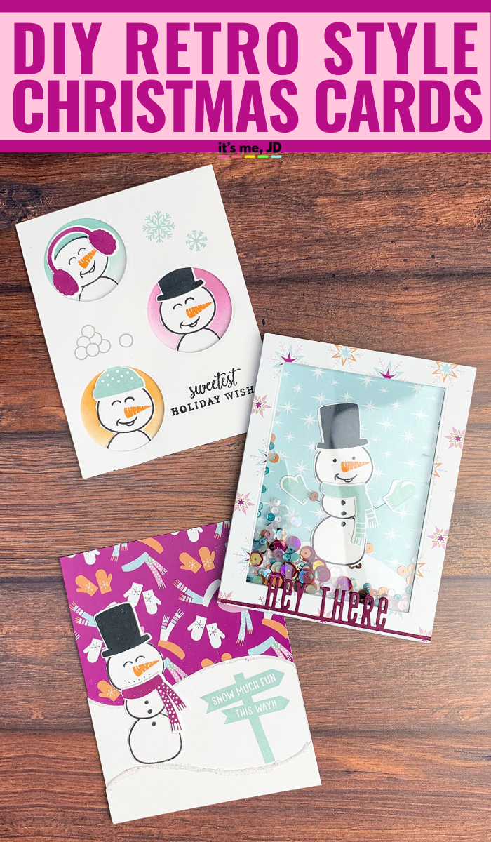DIY Retro Christmas Cards #papercrafts #cardmaking #handmadecards #handmadecard #holidaycards #christmascards