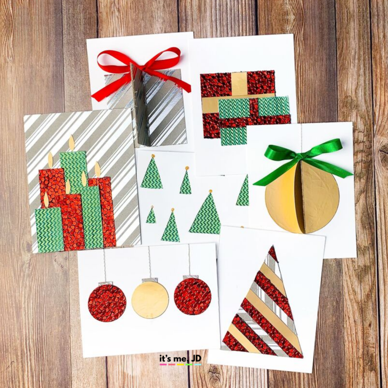 Easy DIY Christmas Card Ideas Patterned Paper ig
