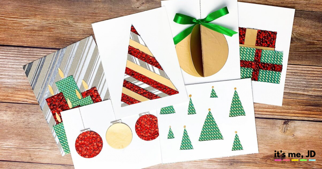 easy diy christmas cards using patterned paper  it's me jd
