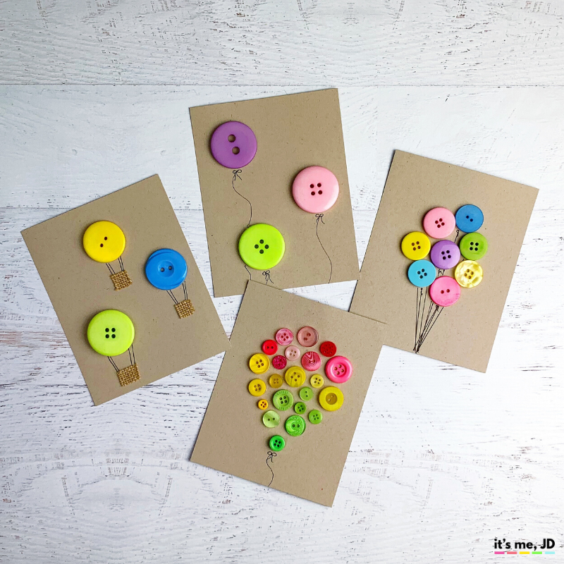 DIY Button Cards and Paper Crafts, birthday balloons