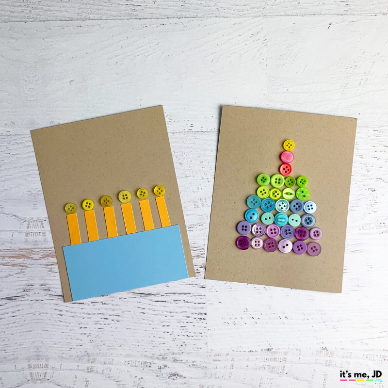 DIY Button Cards and Paper Crafts, birthday cake
