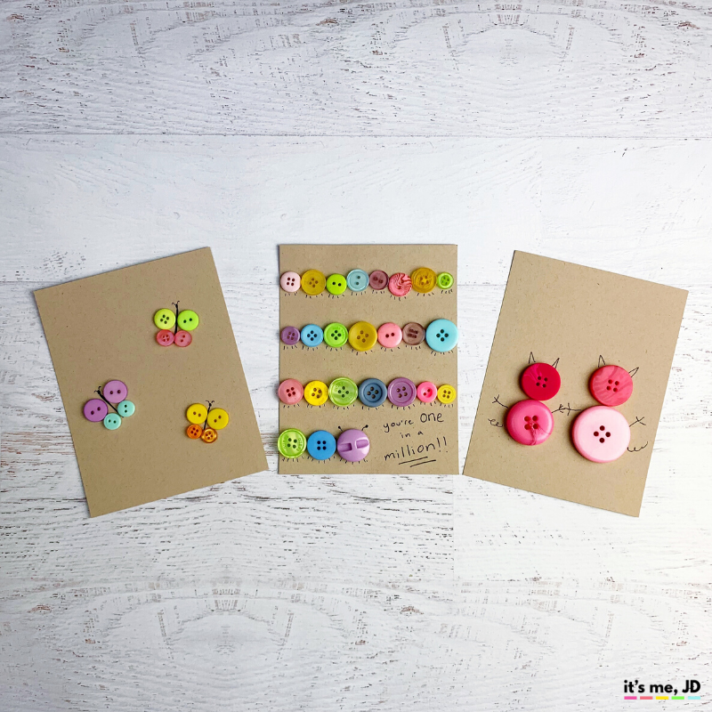 DIY Button Cards and Paper Crafts, butterfly and animals