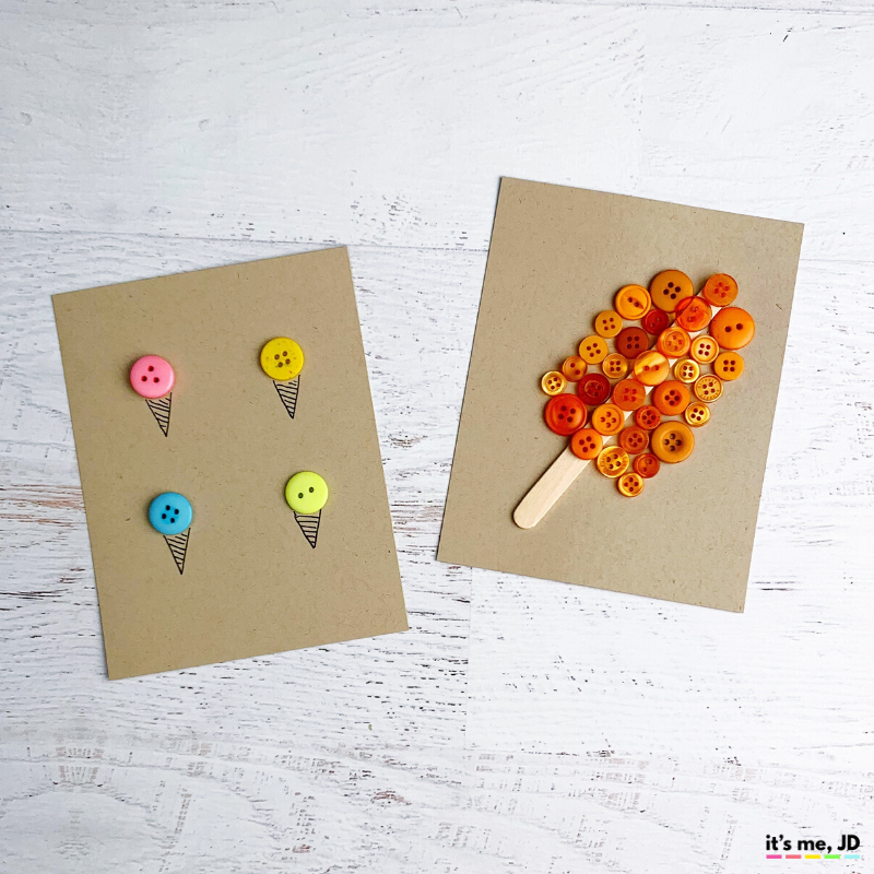 DIY Button Cards and Paper Crafts, ice cream and popsicle