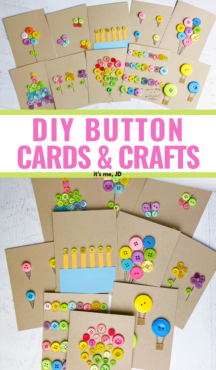 DIY Button Cards and Paper Crafts, Using buttons for art projects #buttoncrafts #buttons #handmadecards #diycards #papercrafts