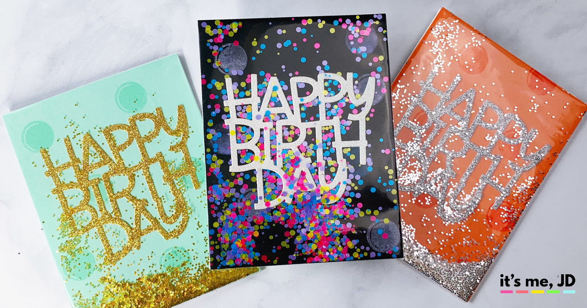 Shaker Box Birthday 3D Handmade Greeting Card with Confetti